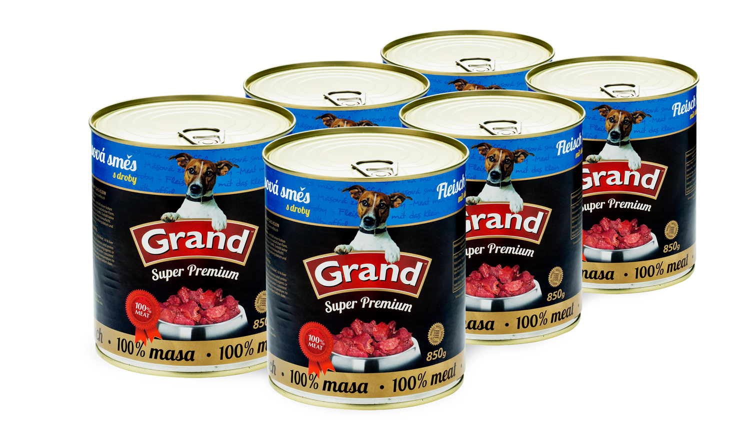 GRAND Masová směs - DOG 6 x 850g